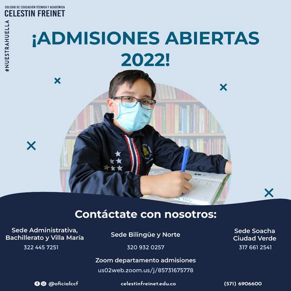 ¡Admisiones abiertas 2022!